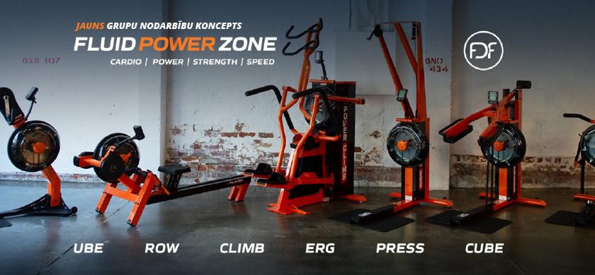 Jauns grupu nodarbību koncepts - Fluid Power Zone - trenažieri.lv